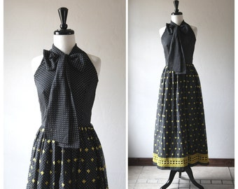 Darling Black & Yellow Full Length 1960s Vintage Polka Dot Halter Dress w/Oversize Neck Bow and Embroider Detail