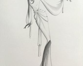 original fashion illustration / art / glam disco / vintage style / pencil drawing