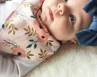 Bandana Bib Baby Girl Bib in Blush Jade Floral. Pink Peonies. Greenery. Baby girl bib. Baby bib. Baby bandana bib. Baby girl accessory.