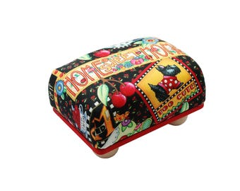 "Large 6"" x 4"" Pincushion with Feet // Mary Engelbreit fabric // Large Pincushion // Sewing Supplies"