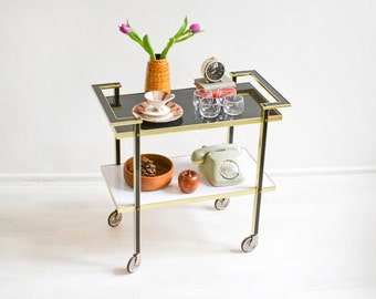 Bar cart, tea cart, 60s bar cart, black white cart, serving cart, Mid-Century Modern decor