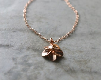 Rose Gold Flower Necklace, Flower Pendant Necklace, Best Selling Items Dainty Rose Gold Necklace, Rose Gold Jewelry, Gift for Her, Wife Gift