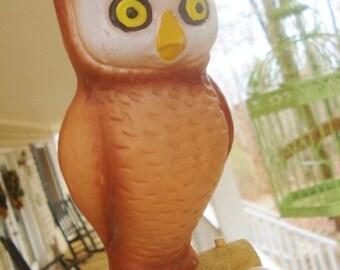 XL Rare Vintage Clip On Bird Garden Bird Bath Ornament Screech Owl Ceramic Pottery