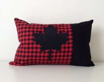 Maple Leaf Pillow Cover, 12x18, Canada Throw Pillow, Buffalo Plaid Cushion Cover, Modern Pillow, Flannel Cottage Pillow, Patchwork, Canadian