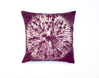 Black Cherry Throw Pillow with Shibori Circle Plum Shibori Pillow Cover Decorative Throw Pillow 18 x 18 Cushion Cover Purple