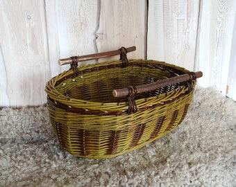 Wooden handled basket