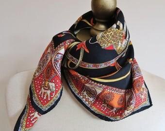 ROECKL silk scarf, square silk scarf, silk neckerchief, German silk scarf, exotic silk square,  european scarves, silk kerchief