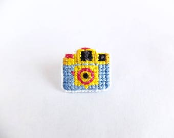 Holga camera pin, lomography camera collar pin, cross stitch pin, gifts for film photographers, gifts for camera lovers, photographers, CMYK