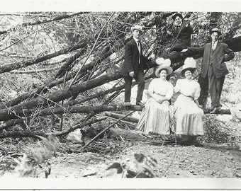 Old Photo Women and Men in Woods on Fallen Tree wearing Long Skirts Hats Suits 1910s Photograph Snapshot vintage