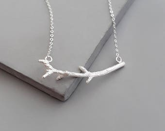 Silver Twig Necklace - Silver Branch Necklace - Silver Nature Necklace - Tree Necklace - Delicate Everyday Necklace - Gift For Her
