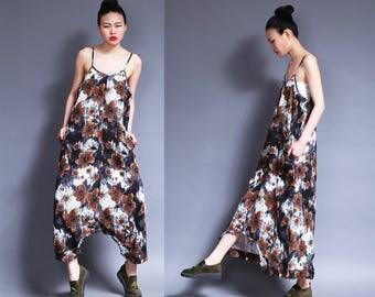 brown flowers patterns linen dress cotton maxi dress pants---a pants a dress black grey linen dress