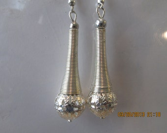 Silver Tone Cone Dangle Earrings with Silver Tone Filigree Bead Center