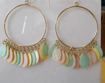 Gold Tone Hoop Earrings with Multi Color Pastel Mother of Pearl Teardrop Dangles
