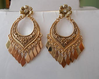 Gold Tone Post/Stud  Chandelier Earrings with Gold Tone Dangles and Clear Rhinestone