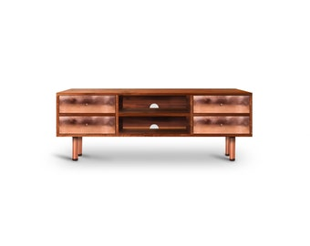 Media Console Brooklyn. Walnut furniture. Copper Furniture. Handmade furniture