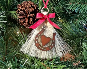 Rustic Primitive Rusty Metal Cutout Horseshoe Heart on Horsehair Tassel Christmas Holiday Ornament