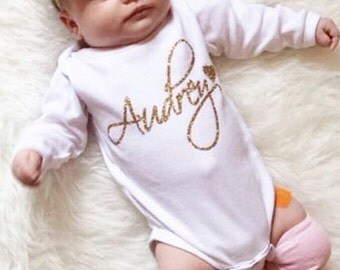 Newborn Girl Take Home Outfit Personalized Pink Gold Glitter Heart Headband Leg Warmer Baby Girl Coning Home Outfit Clothing Gift Hospital
