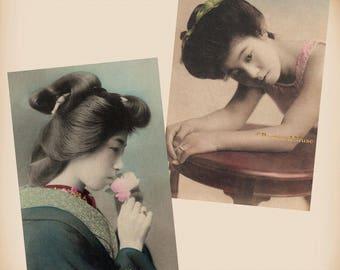 Japanese Girl - Blossom - 2 New 4x6 Vintage Postcard Image Photo Prints JP05-08