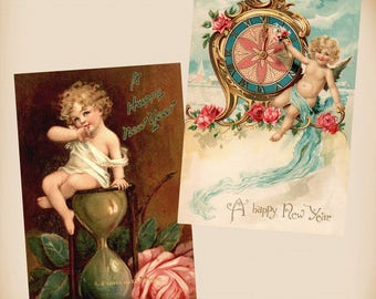 Brundage Baby New Year - Angel - 2 New 4x6 Vintage Image Photo Prints BR08-AN01