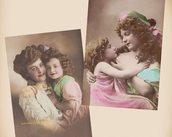 Mother And Daughter - 2 New 4x6 Vintage Postcard Image Photo Prints CE171 CE112
