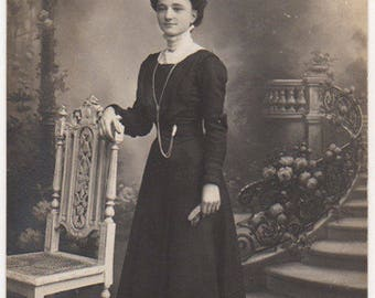 The House Was Ablaze But Lady Saved This Chair Original Antique Photo Postcard