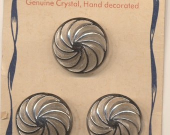 Three Vintage 1940s Crystal Buttons Silver Swirls US Zone Germany