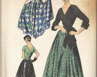 Vintage NOS 1950s Advance Pattern 5646 Ladies Turn-About Blouse and Skirt Bust 36