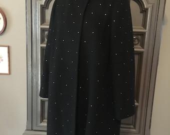 Rhinestoned Wool Coat in Classic 40s Style