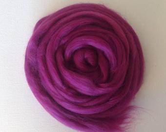 Dark Fuchsia Merino Wool Roving for Felting and Spinning - 50g - Superfine Merino Wool Top in a Deep Fuchsia color