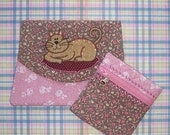 Cat Applique 3 Pocket Pouch Organizer and matching coin purse set