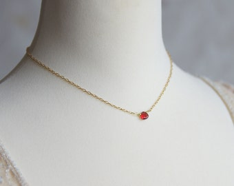 Tiny red garnet teardrop necklace - Gold chain with gemstone briolette necklace