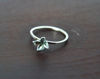 Flower ring Sterling silver ring '' Lilac '' Stacking ring - jewelry - friendship ring - floral silver ring - delicate ring - birthday -gift