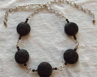 American Black Agate Lava Rock Gemstones Necklace