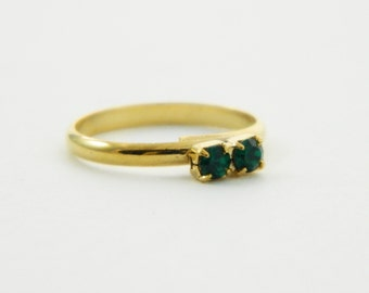 Emerald Two Stone Midi Ring