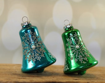 West Germany Mecury Glass Bell Ornaments, Mica Glitter and Pearls, Aqua, Blue, Silver, Green, Vintage Retro Christmas, Christmas Kitsch