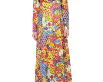 1970s Laurence Donnay Long Floral Print Dress Size: 2-4