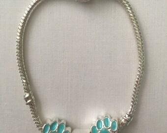 Enamel Paw Print Charm Bracelet - All profits go to charity