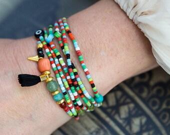 Beaded Wrap Bracelet, Gemstone Bracelet, Tassel Bracelet, Boho Bracelet, Stretch Bracelet, Seed Bead Bracelet, Coral Bracelet, Bohemian