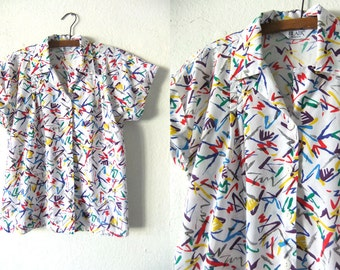 Brushstrokes Abstract Button Down Shirt - Pollock Style Paint Splash 90s Pop Art Short Sleeve Shirt Blouse - Womens Medium