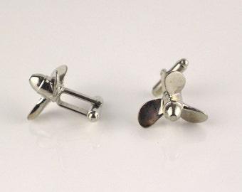Propellor Shaped Cufflinks Silver Tone Metal Cuff links Propeller