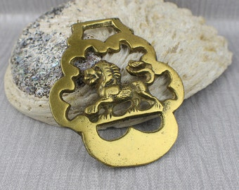 Small Rounded Abstract Lion Side Profile View Horse Brass Hanging Ornament