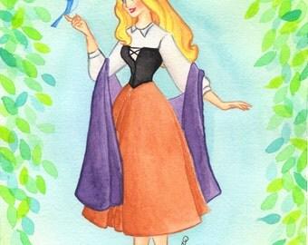 Aurora Sleeping Beauty Fine Art Giclee Print 4x6 Disney Watercolor