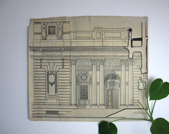 Large Vintage Architectural Drawing, technical drawing, 1930s drawing, pen and wash, classical architecture