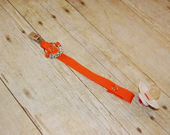 Pacifier Clip, Orange, Personalization Available, Ready to Ship