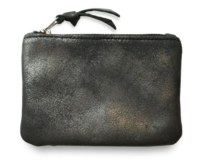 Black graphite shimmer coin purse, change purse, leather card holder