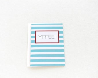 Congratulations Card, Graduation Card, Yippee Congrats Card, Striped Celebration Card, Adoption Congrats, Pregnancy Congrats Card - 159C