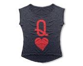 Queen of Hearts T Shirt - Women's T Shirt - Retro Rolled Sleeve Tee - Women's Fashion, Girl's T Shirt