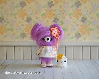 amigurumi kawaii fuzzy Bear, lavender purple crocheted stuffed animal plush bear toy, bitty octopus