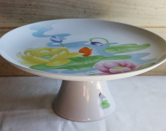 Seymour Mann Water Lily Cake Stand - Porcelain Footed Cake Plate- Eda - Pedestal Cake Stand -Vintage Wedding- Woodland Wedding- Collectibles