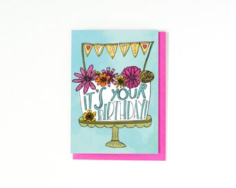 Birthday Card - Happy Birthday Greeting Card - Birthday Cake Card - Birthday Cake Illustration - Yay It's Your Birthday! - Blank Inside Card